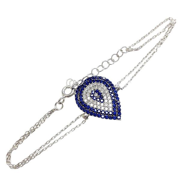 Sterling Silver Cubic Zirconia Pear-shape Evil Eye Bracelet