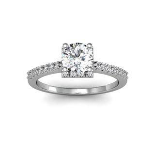 1 Carat Square Halo With Round Brilliant Solitaire Diamond Engagement Ring in White Gold (H-I, I1-I2)