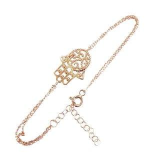 Gold over Silver Evil Eye Hamsa Polished Bracelet