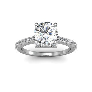 2.00 Carat Square Halo With Round Brilliant Solitaire Diamond Engagement Ring in White Gold (H-I, I1-I2)