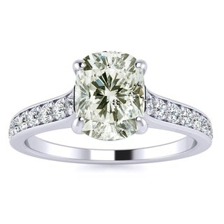 1.50 Carat Solitaire Engagement Ring With 1 Carat Cushion Cut Center Diamond In 14K White Gold (H-I, I1-I2)