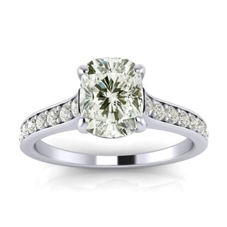 2.00 Carat Solitaire Engagement Ring With 1.50 Carat Cushion Cut Center Diamond In 14K White Gold (H-I, I1-I2)