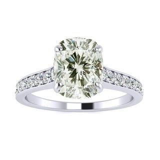 2.50 Carat Solitaire Engagement Ring With 2.00 Carat Cushion Cut Center Diamond In 14K White Gold (H-I, I1-I2)