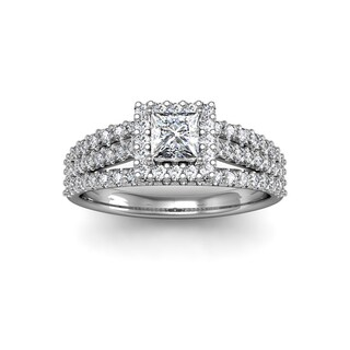 1.00 Carat Elegant Princess Cut Diamond Halo Engagement Ring With 74 Fiery Accent Diamonds In White Gold (H-I, I1-I2)