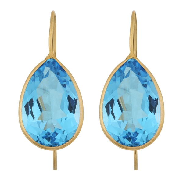 Fremada 14k Yellow Gold 10x15-mm Pear-shaped Blue Topaz Wire Earrings