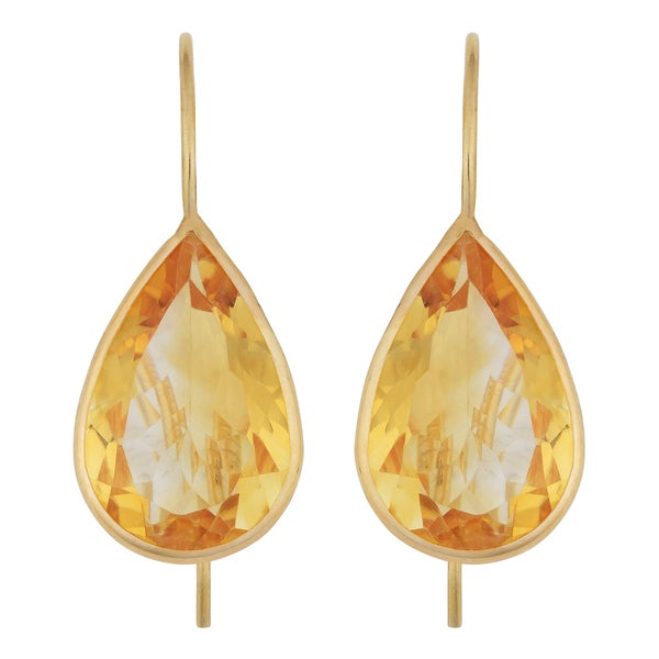 Fremada 14k Yellow Gold 10x15-mm Pear-shaped Citrine Wire Earrings