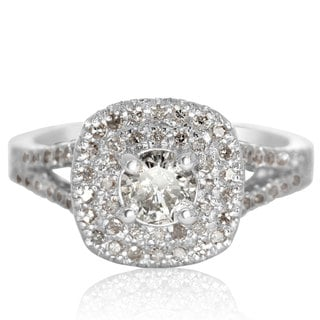 1.25 Carat Huge Looking Double Designer Diamond Halo Engagement Ring In White Gold (H-I, I1-I2)