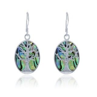 La Preciosa Sterling Silver Abalone Tree of Life Oval Dangle Earrings
