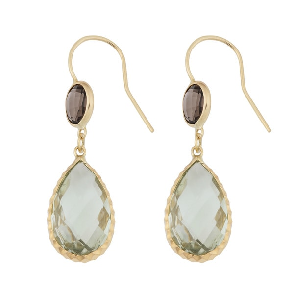Fremada 14k Yellow Gold Pear-shaped Green Amethyst and Round Smoky Quartz Drop Earrings