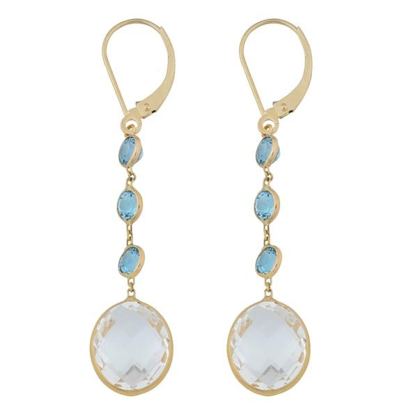 Fremada 14k Yellow Gold Blue and White Topaz Dangle Earrings