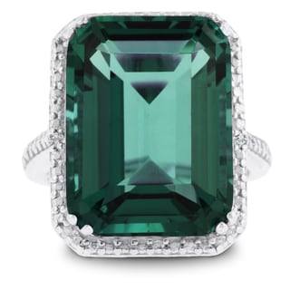 11 Carat Emerald Shape Green Amethyst and Diamond Ring In Sterling Silver