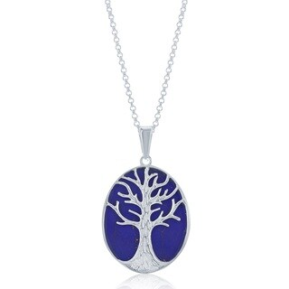 La Preciosa Sterling Silver Blue Lapis Tree of Life Oval Necklace
