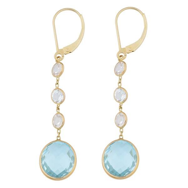 Fremada 14k Yellow Gold White and Blue Topaz Dangle Earrings