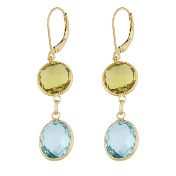 Fremada 14k Yellow Gold Round Leamon Quartz and Oval Blue Topaz Leverback Earrings