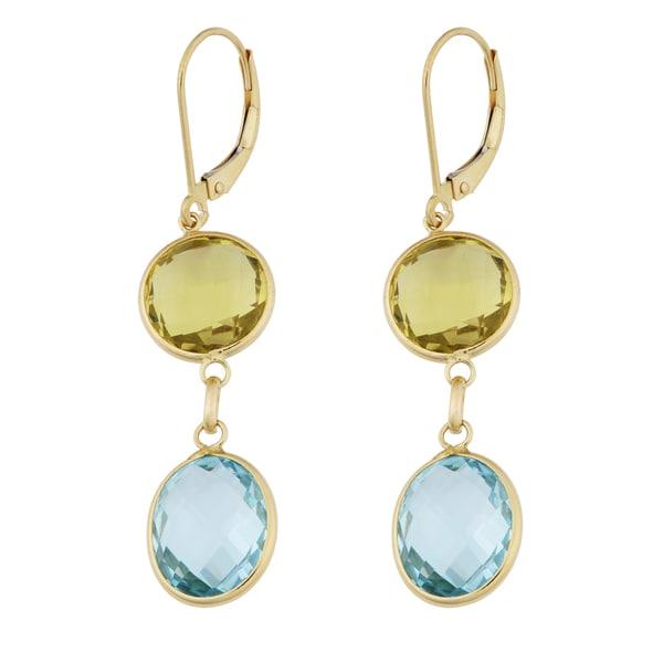 Fremada 14k Yellow Gold Round Leamon Quartz and Oval Blue Topaz Leverback Earrings