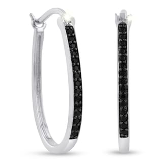 1/4ct Oval Shape Black Diamond Hoop Earrings, 1 Inch