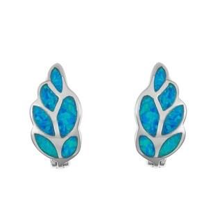 La Preciosa Sterling Silver Blue Opal Leaf Huggie Earrings