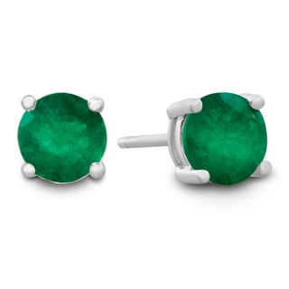 1/2Carat Natural Emerald Stud Earrings in Sterling Silver