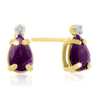 1 Carat Pear Amethyst and Diamond Earrings in 14k Yellow Gold