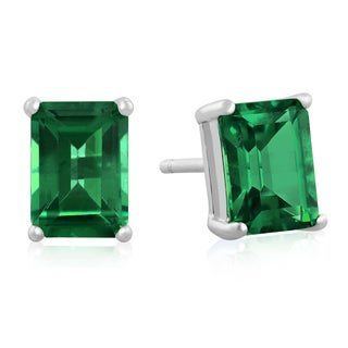 2 1/2Carat Emerald Cut Created Emerald Earrings In Sterling Silver