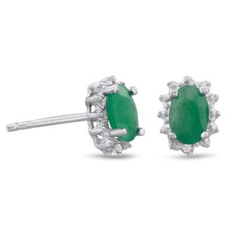 1Carat Emerald And Diamond Earrings In Sterling Silver