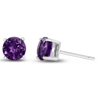 2 Carat Round Purple Amethyst Earrings in Sterling Silver