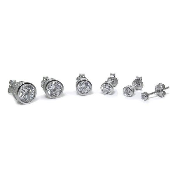 Eternally Haute Solid Sterling Silver Round Bezel Stud Earrings 16820661