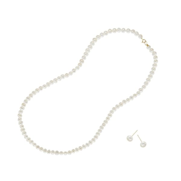 14k White Gold Pori Freshwater Pearl Necklace and Stud Earrings Set