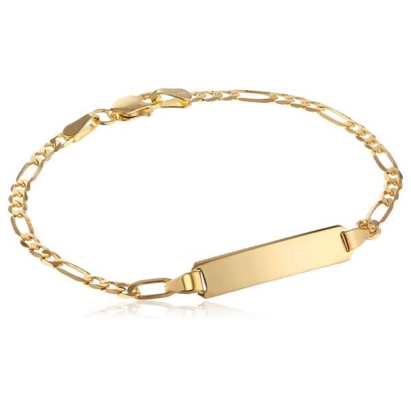 Pori 14k Yellow Gold Figaro ID Bracelet