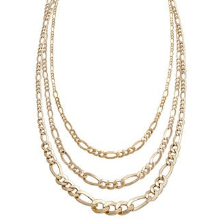18k Yellow Gold Graduated Figaro Chain Necklace