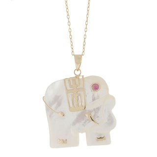 Pori 14k Yellow Gold Jade Elephant Pendant Necklace