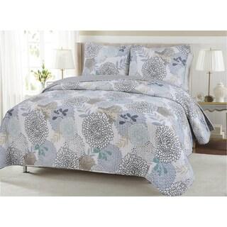 Nina Floral Cotton 3-piece Quilt Set