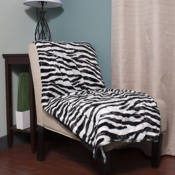 Super Soft Faux Fur Zebra Print Throw Blanket