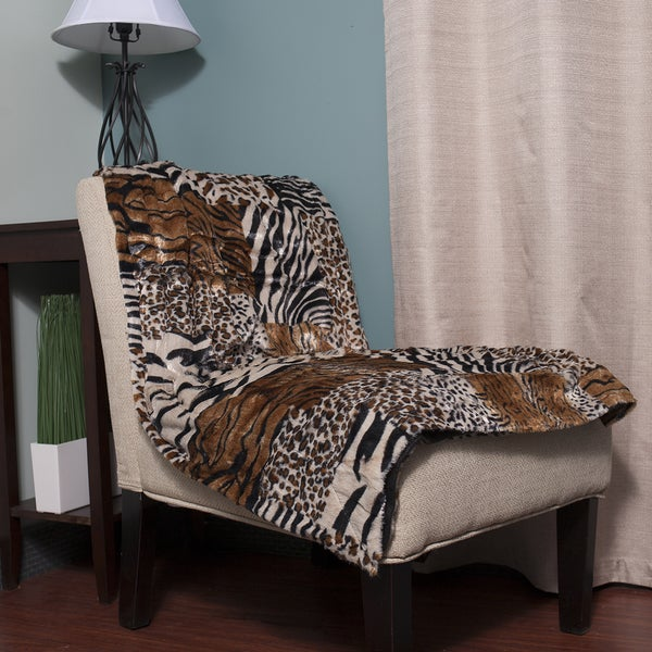 Super Soft Faux Fur Mix Animal Safari Print Throw Blanket