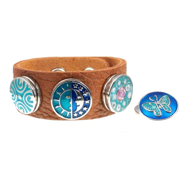 Sun and Moon, Butterfly Leather Bracelet with Four Snap On Interchangeable Button Charms