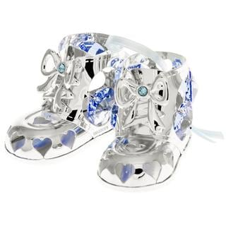 Matashi Silverplated Genuine Crystals Highly Polished Baby Boy Booties Ornament