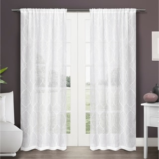 Zurich Embroidered Semi-Sheer Rod Pocket 84-inch Curtain Panel Pair