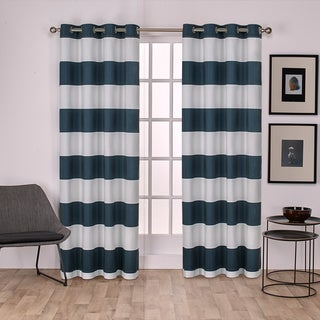 ATI Home Surfside Cotton Cabana Stripe Grommet Top 84 - 96-inch Curtain Panel Pair