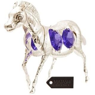 Matashi Silverplated Purple and White Crystal Zebra Ornament