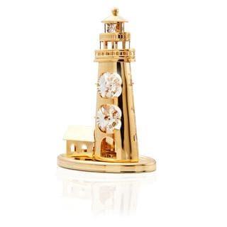 Matashi 24k Goldplated Genuine Crystals Mini Lighthouse Ornament