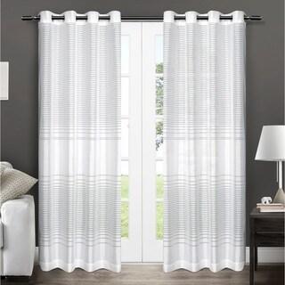 ATI Home Pesaro Striped Sheer Grommet Top Curtain 84 - 96-inch Length Panel Pair