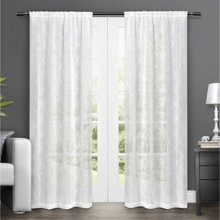 ATI Home Salzberg Embroidered Semi-Sheer Rod Pocket Window Curtain Panels - 50-inch X 84-inch, White, Sold as