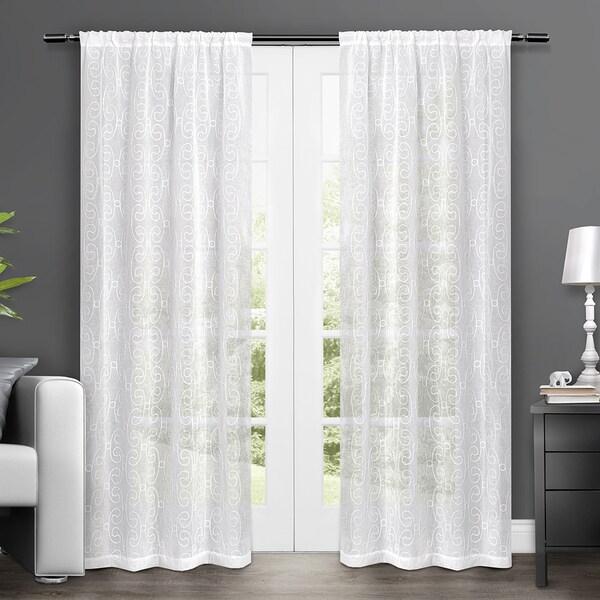 Sheer rod pocket window curtain panels 50 inch x 84 inch white