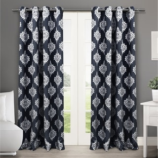 ATI Home Medallion Blackout Thermal Grommet Top Curtain 84 - 96-inch Length Panel Pair