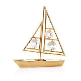 Matashi 24k Goldplated Genuine Crystals Sailboat Ornament