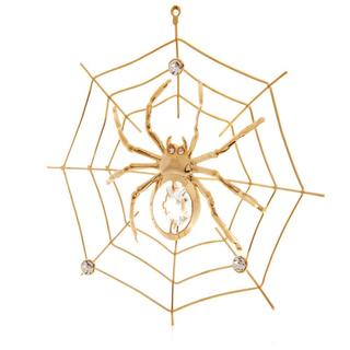 Matashi 24k Goldplated Genuine Crystals Spider on Spider Web Ornament