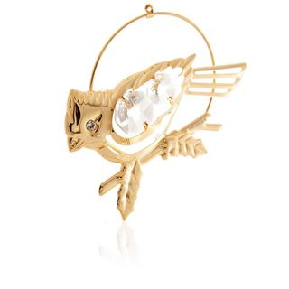 Matashi 24k Goldplated Genuine Crystals Sweet Cardinal Ornament