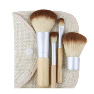 Bliss & Grace 4-Piece Travel Bamboo Makeup Brush Set