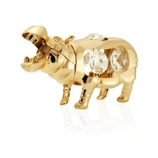 Matashi 24k Goldplated Genuine Crystals Highly Polished Hippo with Open Mouth Ornament