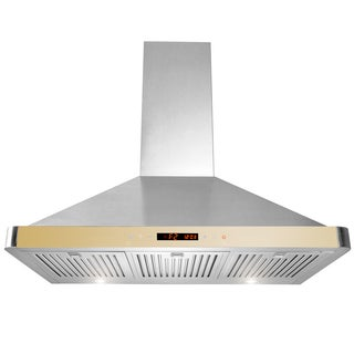 AKDY 36-inch Stainless Steel Wall Mount Kitchen Cooking Fan Vent LED Touch Control Screen Range Hood w/ Removable Baffle Filters